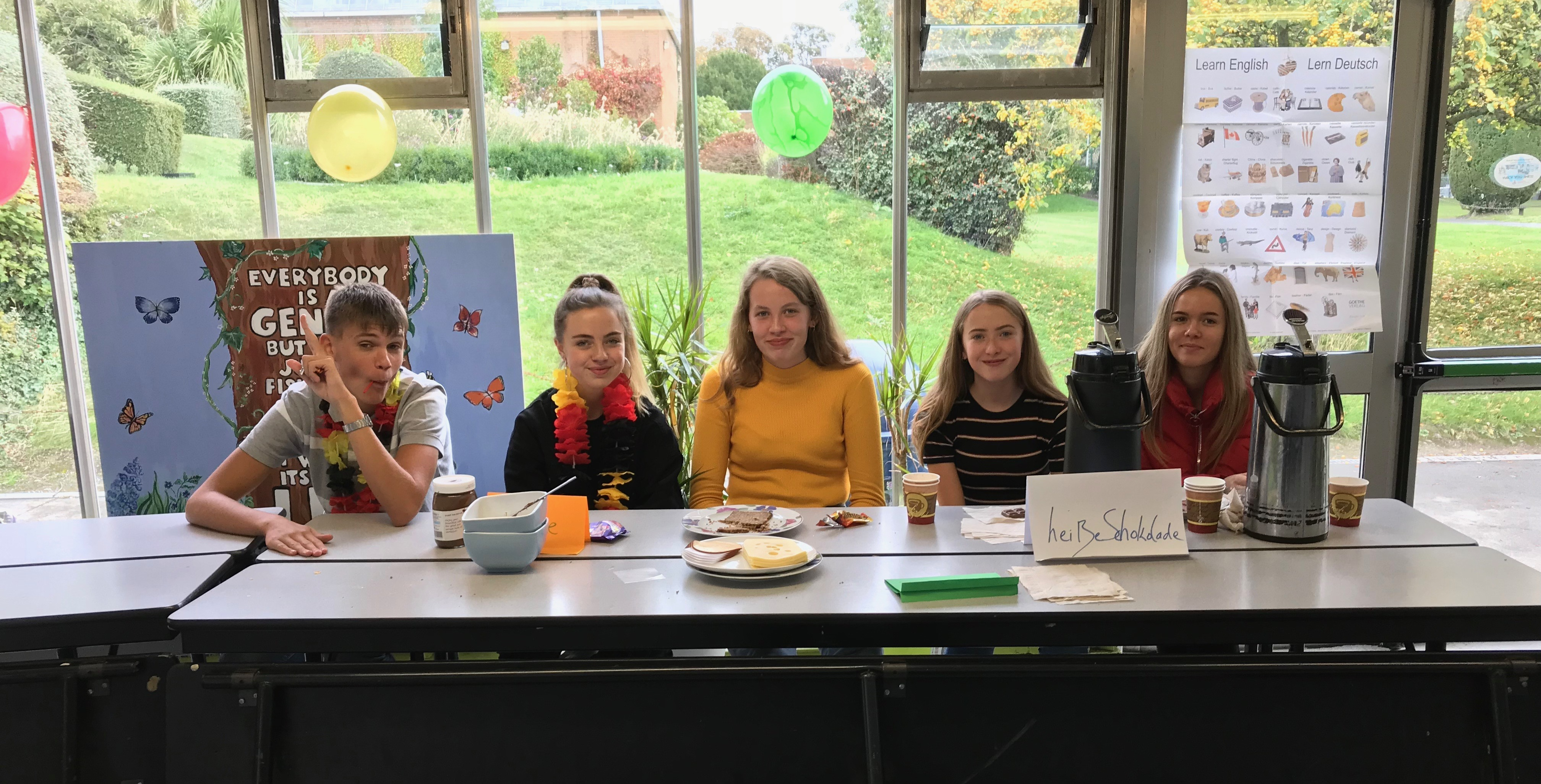 Language week 2018: TY pupils helping out at 1st Year German Fruhstuck (Breakfast) in canteen