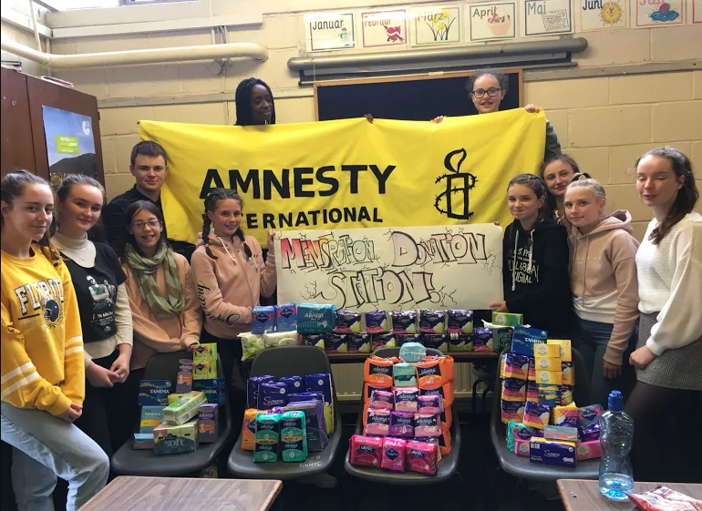 The Homeless Period: Amnesty Mount Temple group with sanitary products collected for homeless women.